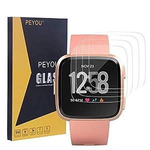 PEYOU [4 Pack] Schutzfolie für Fitbit Versa, Panzerglas Schutzfolie, [Extrem Dünne Dicke] [9H Härte] [Kristallklar] [Anti-Kartz][Premium-gehärtetes Glas] Komaptibel mit Fitbit Versa