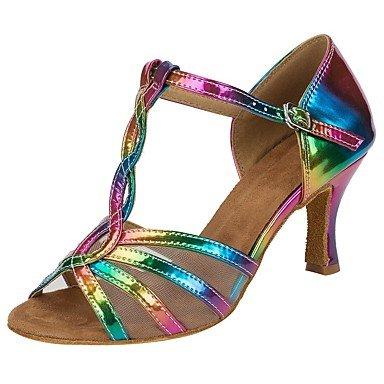 Silence @ Chaussures de danse pour femme en similicuir Salsa talons Sandales Talon performances Rainbow Rainbow