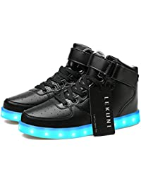 Lekuni LED Chaussures Unisexe Homme Femme Lumineux Sports Baskets 7 Couleur USB Charge LED Chaussures Lumiere Clignotants