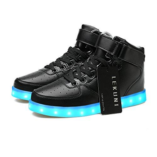LeKuni Unisex LED Schuhe Leuchtschuhe 2018 Verbesserung 7 Farbe Blinkende Leuchtende Light up High Top Sneakers-LED_GB_HEI32S1