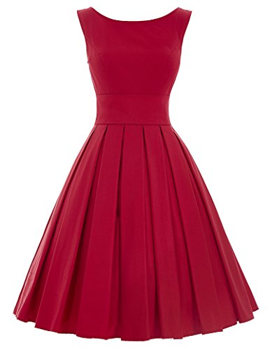 Fashion 1950s retro abiballkleid ärmellos cocktailkleider dress for women rot M BP091-2