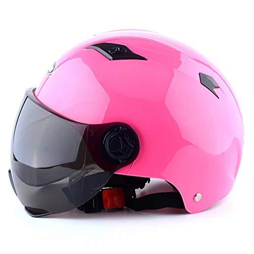 Preisvergleich Produktbild LALEO Offenes Motorradhelm,  Jet-Helm Retro mit Visier Schnellverschluss,  Damen und Herren ECE Genehmigt Blau,  Pink,  Schwarz,  Rot,  Gelb (55-62cm), Pink