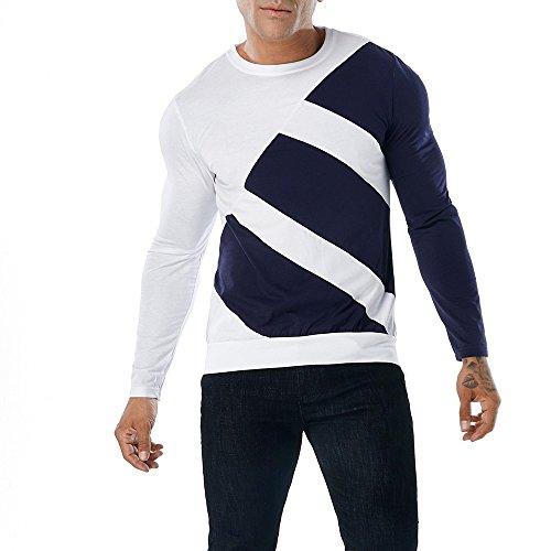 Longra Herren Sweatshirt Basic Langarmshirt Patchwork Slim Fit Freizeit Sport Shirts Pullover T-Shirt Langarm Casual T-Shirt Oberseite der Art- und Weisemänner Bluse -