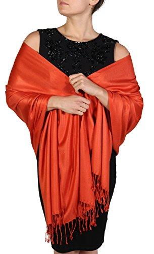 Pashmina Schal Tuch Stola für Frauen - Quastenveredelung - Kostenloser Aufhänger (Über 20 Farben) Handgefertigt (Dunkel Orange)