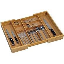 Kesper 1708613 - Caja para cubertería de madera de bambú (tamaño regulable ...