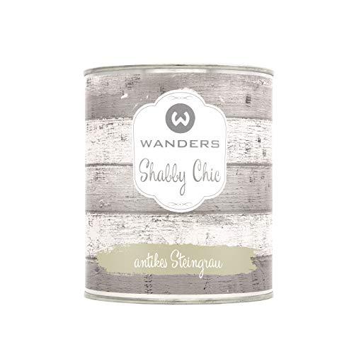 Wanders24® Shabby Chic (750 ml, antikes Steingrau) Kreidefarbe für Shabby Chic - chalk paint - Vintage Farbe - Farbe für Holz - Made in Germany