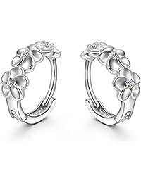 LDUDU® Pendientes Aro de mujer de plata de ley con Diseño de la flor Cristal Swaroski/ Circonita para mujer niña regalo de Cumpleaños\u2026