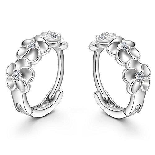 LDUDU® Pendientes Aro de mujer de plata de ley con Diseño de la flor Cristal Swaroski/ Circonita para mujer niña regalo de Cumpleaños Navidad San Valentin color blanco