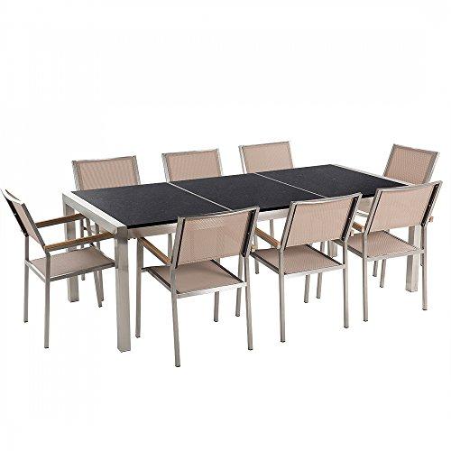 Gartenmöbel - Granitgartentisch 220 cm schwarz poliert mit 8 beigen Stühlen - GROSSETO