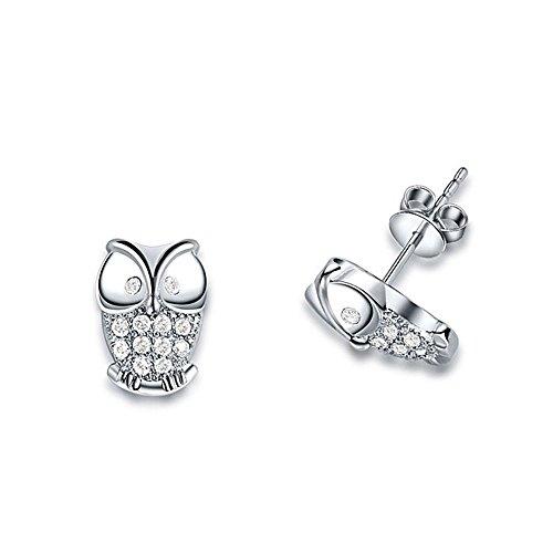 Fajewellery Pendientes Zircon plateado plata del búho animal para las mujeres
