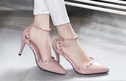 OL Pompes Wedding Pointed Peep Toe Kitten Low Heel Cheville Bracelets Rivet Décoration Non-dérapant Elegant Women Casual Date Chaussures UE Taille 34-39 Pink