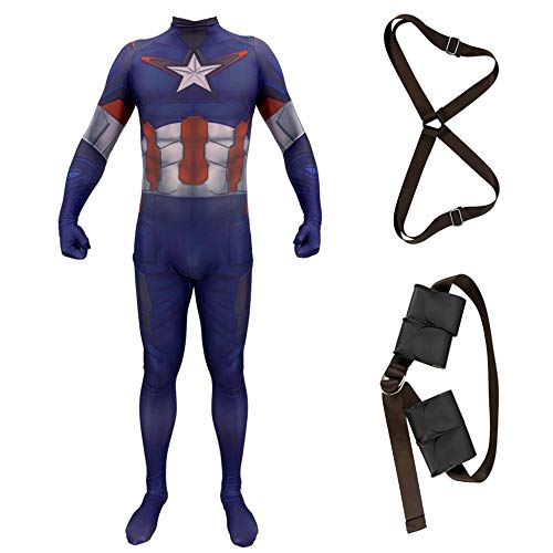 America Kostüm Adult Captain - CHXY Captain America Kind Erwachsener Kostüm Cosplay Verkleidung Dress,Halloween Mottoparty Strumpfhosen 3D Drucken Onesies Karneval Overall,Adult-M