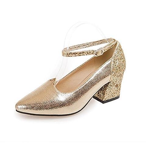 balamasa Mesdames paillettes Couleurs assorties pumps-shoes givré - or - doré, 39