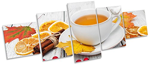 Orange Tee Cup Herbst Multi Leinwand Wand Art Box Frame Bild Print, 100cm wide x 40cm high (Tee Multi Print)
