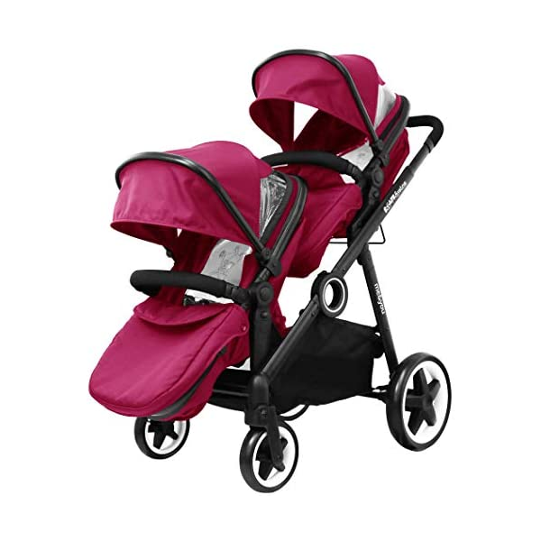 iSafe Tandem Pram me&You - 2 Tone Red (Sienna) iSafe Sleek & Eye Catching Matte Black Chassis, Weighing Only 16Kgs Easy One Second Fold, For Those Parents On The Go Soft Grip Extendable 3 Height Handle, To Suit Parents Of Any Height 1