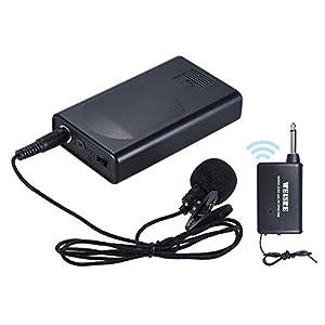 ammoon - Microfono Lavalier da bavero a clip, microfono wireless, amplificatore di voce per lezioni, conferenze e campagne promozionali