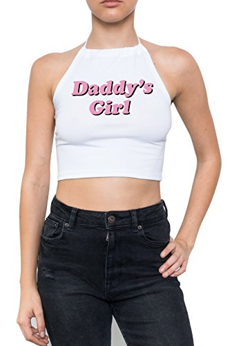 Daddys Girl T-shirts (MINGA LONDON Damen Top, mit Neckholder, Kawaii Gr. X-S/S, weiß)