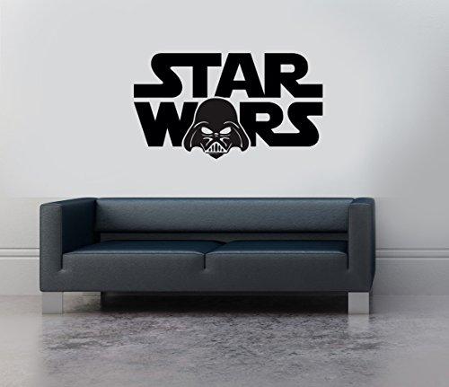 Star Wars Darth Vader Logo Text Vinyl Aufkleber Art Wand Wandbild Aufkleber Disney Transfer Schablone gelb (Vader Darth Schablone)