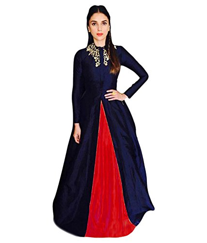 lehenga (Women's Clothing Lehenga For Women Latest Design Wear Lehengas Collection in Green Coloured Georgette Material Latest Lehenga With Designer Blouse Free Size Beautiful Bollywood Lehenga For Women Party Wear Offer Designer Lehenga Choli With Blouse Piece) (navy blue)  available at amazon for Rs.299