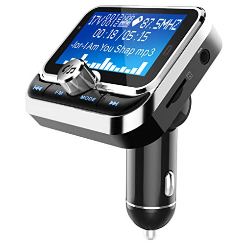 Bluetooth FM Transmitter/Dual Usbcharging/Bluetooth-Wiedergabe/Navigations-Sprachwiedergabe/Power-Off-Memory-Wiedergabe/Intelligent Detection Voltage/Car Wireless Charge,Silver 10 One-touch-memory