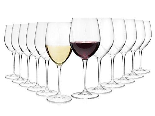 Bormioli Weingläser Set aus Kristallglas 12 teilig | Gastronomiequalität | Füllmenge Rotweinglas...
