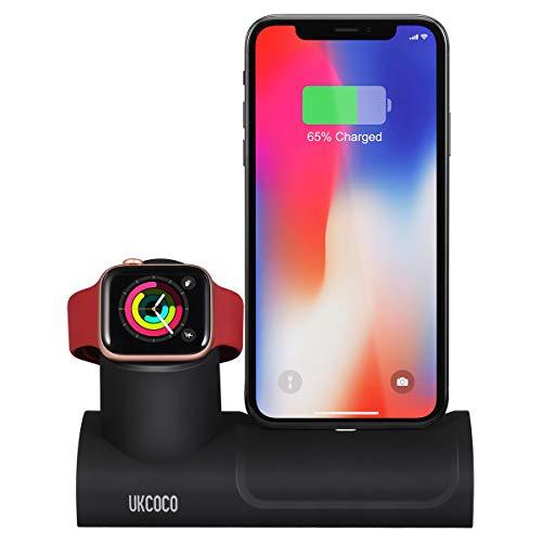 Preisvergleich Produktbild UKCOCO Ladestation Ständer Kompatibel für iPhone iWatch Serie, 2 in 1 Silikon Dock Station Kompatibel mit Apple Watch 4 / 3 / 2 / 1 iPhone XS / X Max / XR / X / 8 / 8Plus / 7 / 7 Plus / 6 Plus / 6 und Anderes Modell