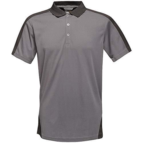 Regatta Professionelles Poloshirt mit Kontraststreifen, Coolweave, XXL, Seal Grey/Bl, 1 -