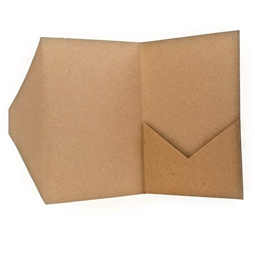 Pocketfold Karten A5 Kraftpapier - Hochzeitskarten selber machen Farbe braun