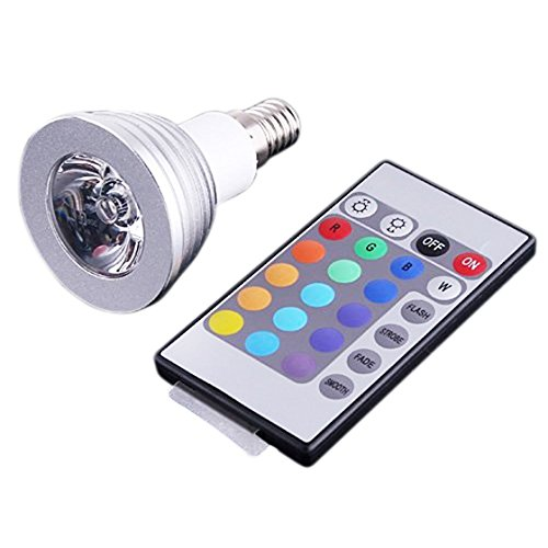 PQZATX PQZATX(R) E14 3W 16 Farben RGB LED Gluehlampe E14 Fernbedienung AC 90-240V -