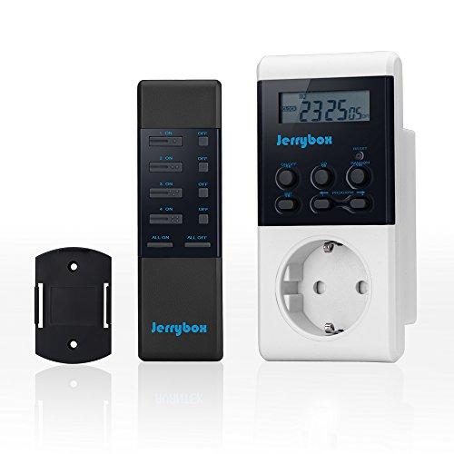 Jerrybox Enchufe inteligente inalámbrico con control remoto/ telemando y función de temporización, Interruptor multifunción para ahorro enérgico, Mando a distancia | alto radio alcance de aprox. 30