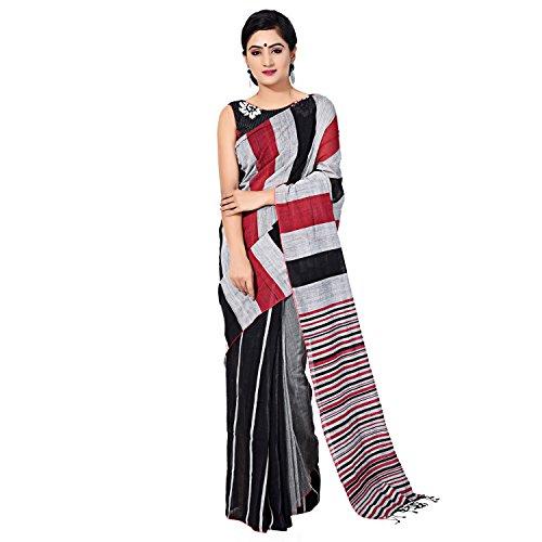 Tanya Black Handloom Khadi Saree with Red and Grey Stripes on half...