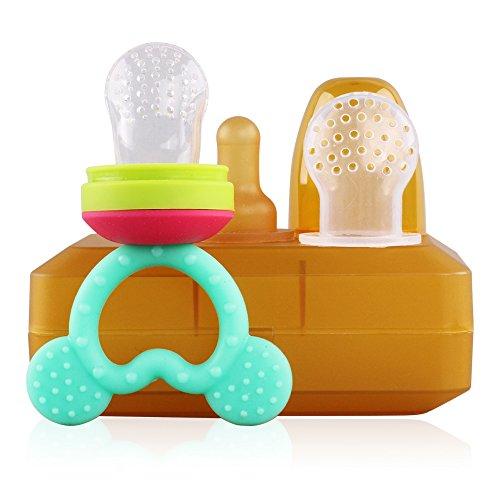 Kompatibel Cyan-box (FUNKID Senioren Baby Feeder, künstliche Brustwarzen, Fruchtsauger, mit einer box, Baby-Geschenke (Blau))