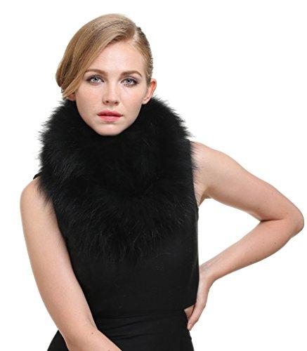 vogueearth Mujer'Real De Punto Zorro Pelaje Invierno Cuello Más Cálido Bufanda Fular Negro