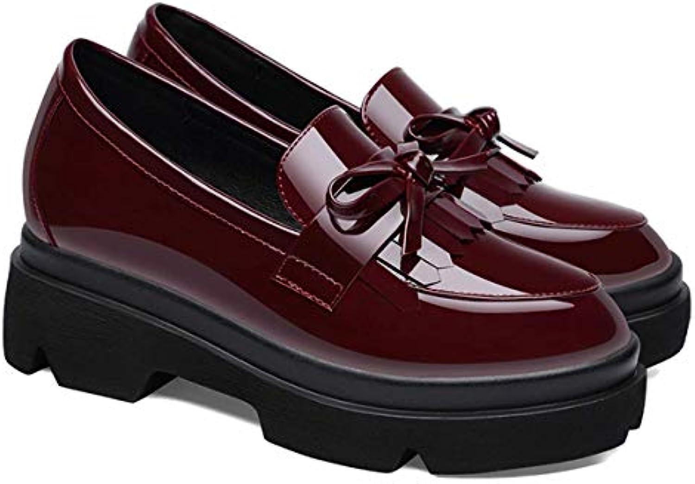 HBDLH Scarpe Scarpe Scarpe da Donna Il Singolo Medio Piccole Scarpe Scarpe di Cuoio Stile Britannico Un Pedale Scarpe da Donna... | Economici Per  3efe41