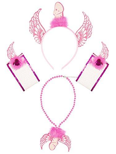 (Unbekannt Junggesellinnenabschied Schmuck-Set JGA-Party 4-teilig pink Einheitsgröße)