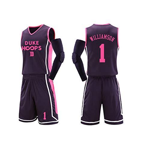 FNBA # 1 Zion Williamson Jugend Basketball Jersey Retro Leichtathletik Jersey Duke University Kinder Basketball Jersey Größe L-5XL, 2019 Rookie Champion Champion Basketball Kleidung-Pink-XL