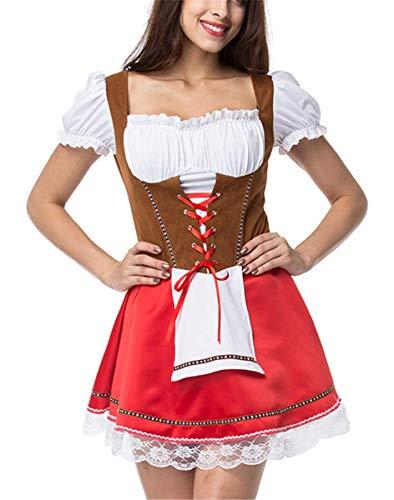 LCXYYY Damen Kostüme Elegant Sexy Retro Dirndlkleid Bluse Costumes Trachtenkleid mit Stickerei...