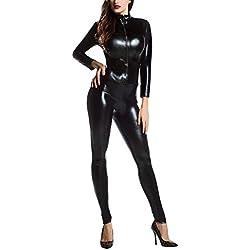 Anyu Adultes Manches Longues Halloween Dancewear Zipper Clubwear Combinaison Noir L