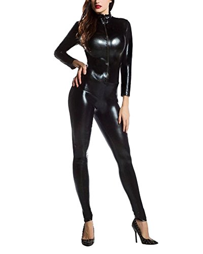 Anyu unisex comodo stretch jumpsuit halloween bodysuit costume nero s