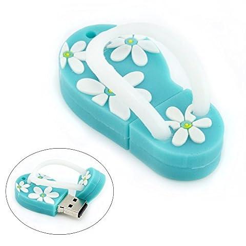 AreTop 16Go Clé USB Flash Drive en Forme de Plage Sandal avec motif de fleurs (Bleu)