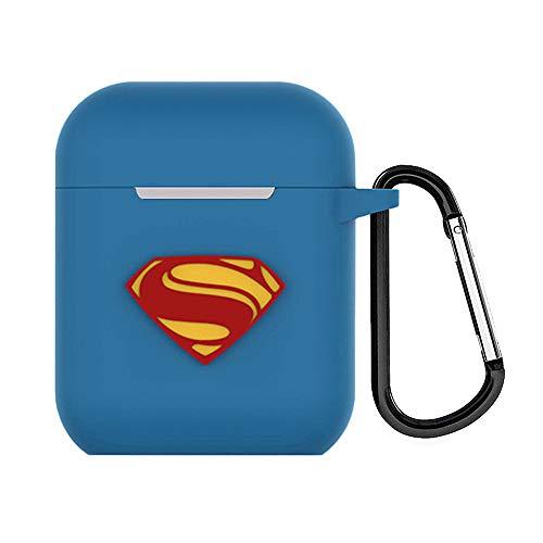 DiMei Coque Étui Protecteur Compatible pour AirPods 1 & 2, Silicone Coque de Protection Casque Accessoires Protection Case pour Airpods - Superman