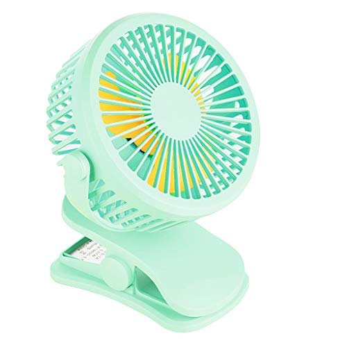 iHAZA Tragbarer USB wiederaufladbarer Clip On Fan Nachtlicht um 360 ° drehbarer Schreibtisch Mini Lüfter