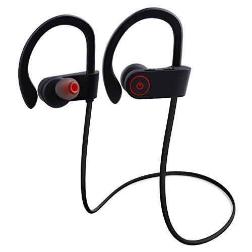 lederTEK Bluetooth Kopfhörer 4.1 In Ear Sport Headset Ohrhörer Stereo mit Mikrofon, Stereo-Sound Top-Qualität für iPhone, Android, MP3 & Weitere (Schwarz)