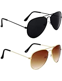 1d3d513579a5 Spexra Stylish UV Protected Black   Brown Mercury Aviator Sunglasses Boys    Girls Pack of 2