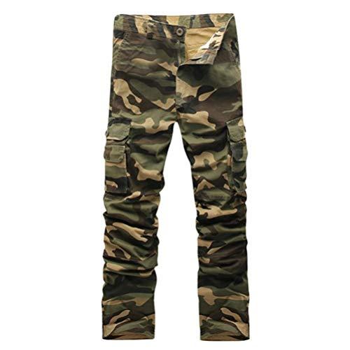 KPILP Herrenmode Lose Beiläufig Tarnung Militär Armee Kampf Overall Draußen Arbeit Hose Ladung Herbst Lange Hosen(Armeegrün, 33