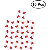 Vosarea 10PCS Estilo mediterráneo natación Anillo Vida Salvavidas Resina artesanía Miniatura Adornos en Miniatura (Rojo)