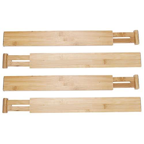 Anladia 4er-Set Schubladenteiler Schubladentrenner Verstellbar aus 100% Bio-Bambus, Schubladen-Organizer für Küche Schrank Schreibtisch (Holz-küche-schublade Teiler)
