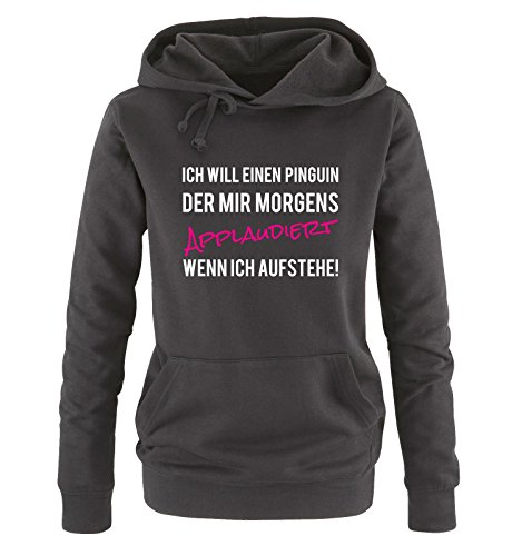 Comedy Shirts - ICH WILL EINEN PINGUIN... - Damen Hoodie - Schwarz / Weiss-Pink Gr. (Weiße Schwarze Hoodie Und Pinguin)