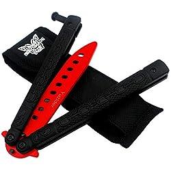 Yuzlder Couteau Papillon d'entraînement en Acier Inoxydable Lame Non tranchante avec loquet à Ressort