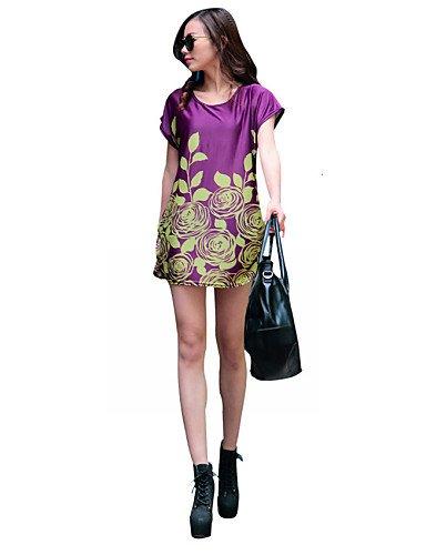 PU&PU Robe Aux femmes Ample Street Chic,Fleur Col Arrondi Mini Coton / Polyester PURPLE-ONESIZE